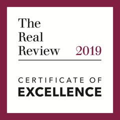 The Real Review 2019 Certificate of Excellence